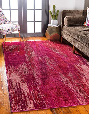 Unique Loom Jardin Collection Vibrant Abstract Pink Area Rug (5 0 x 8 0)