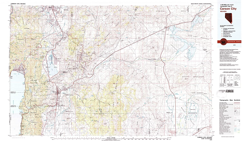 Amazon.com : YellowMaps Carson City NV topo map, 1:100000 Scale, 30 on
