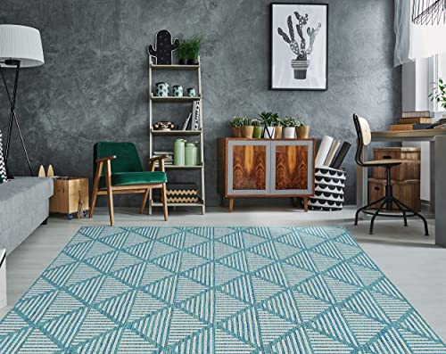 PRIYATE Florida Collection – Diamond Trellis Indoor Outdoor Area Rug All Weather, Water Repellent Rug for Bedroom, Living Room, Dining Room, Patio and More Ocean Green 7 10 X 10