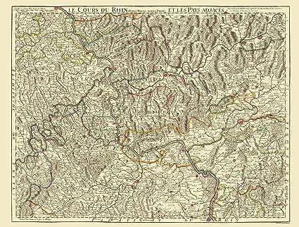 Amazon Com Old Germany Map Rhine River Basin Covens 1787 23 X