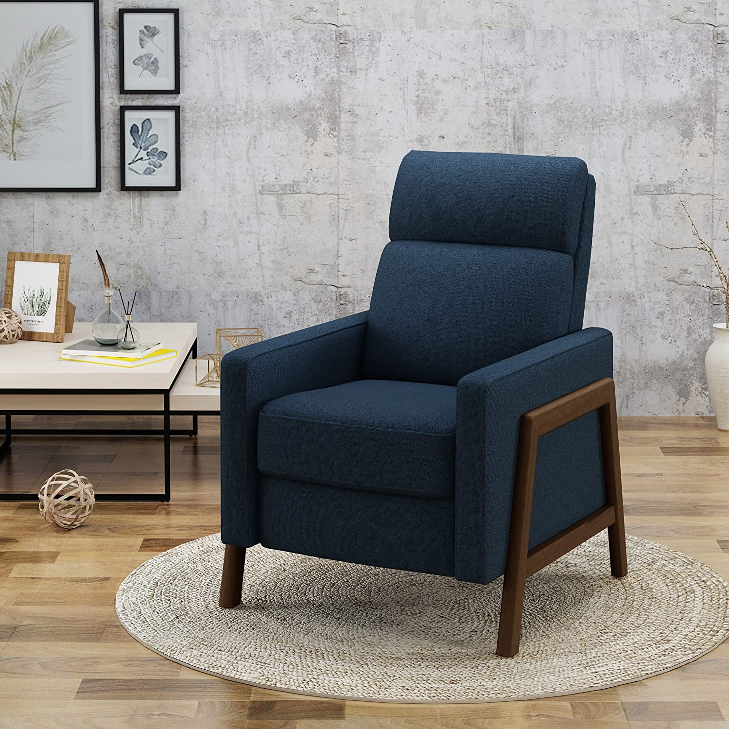 Amazon com great deal furniture chris mid century modern fabric recliner in navy blue kitchen dining
