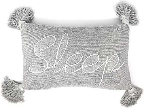 Linen Perch Decorative Throw Pillow for Bed – Dorm Room D cor – Embroidered Sleep Pillow – Insert Included -100 Cotton Knit – Pillow with Tassels – Teen Girls Bedroom – Guest Room Grey 16 x 10