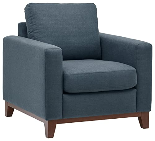 Rivet North End Wood Accent Living Room Arm Chair, 38 W, Denim