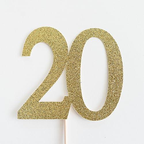 Amazon Gold Glitter 20 Cake Topper 20th Anniversary Twentieth