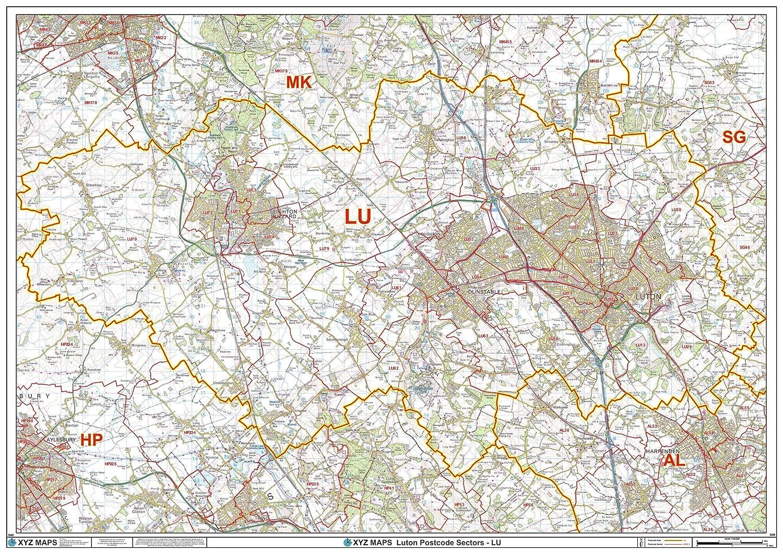 LU Luton Postcode Wall Map 47 x 33.25 Matte Plastic