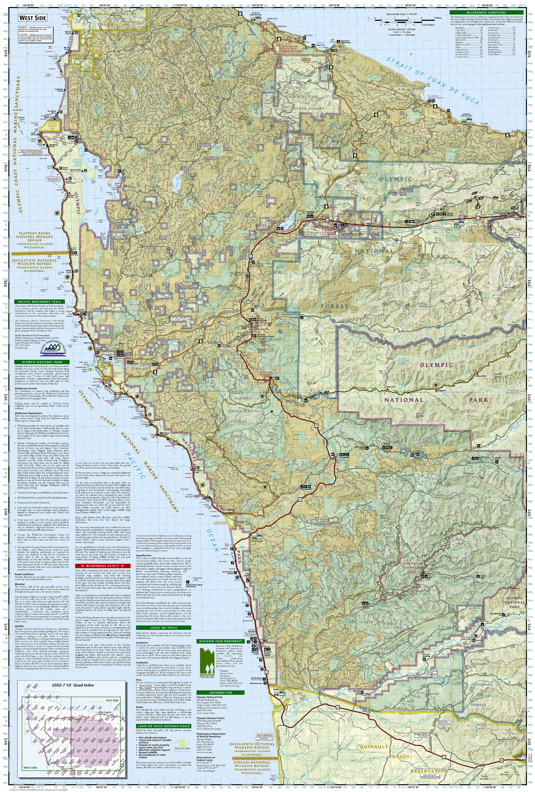 Olympic National Park National Geographic Trails Illustrated Map - Map washington state peninsula