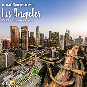 2021 Home Sweet Home Los Angeles Wall Calendar by Bright Day, 12 x 12 Inch, California Beaches Vacation USA Evergreen Hometown Travel Destination Inspiration