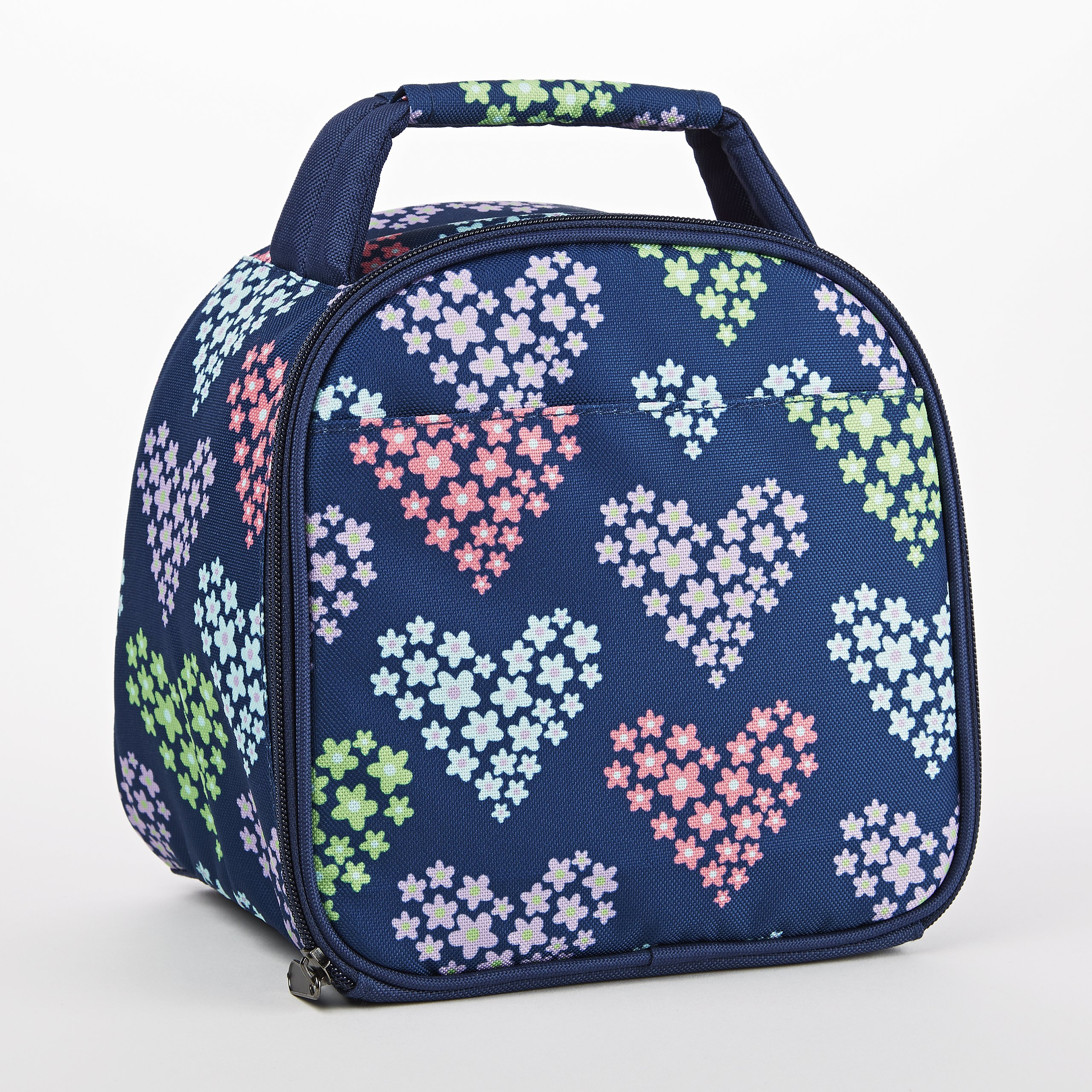Fit & Fresh Kids' Gabby Insulated Lunch Bag with Exterior Pocket and Full Zip Closure, Versatile School Lunch Box for Girls, Heart Flowers