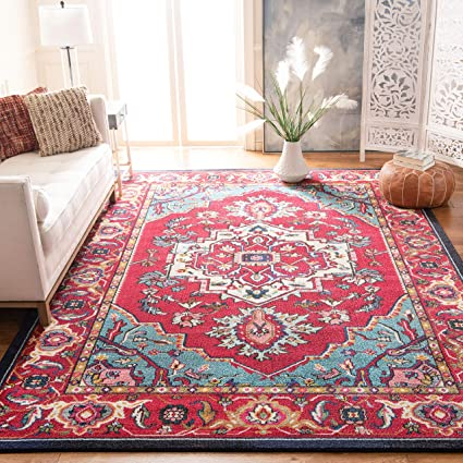 Safavieh Monaco Collection Mnc207c Red And Turquoise Area Rug 6