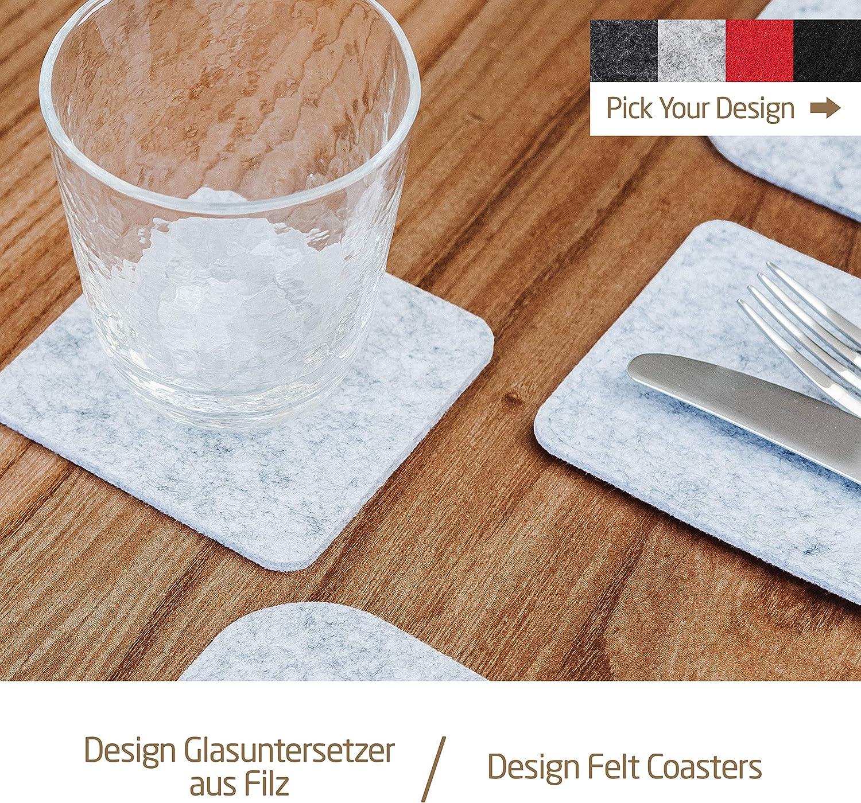 Miqio/® Design Glasuntersetzer 10er Set Getr/änke Untersetzer mit Echtleder Applikation Filz und Leder Waschbar