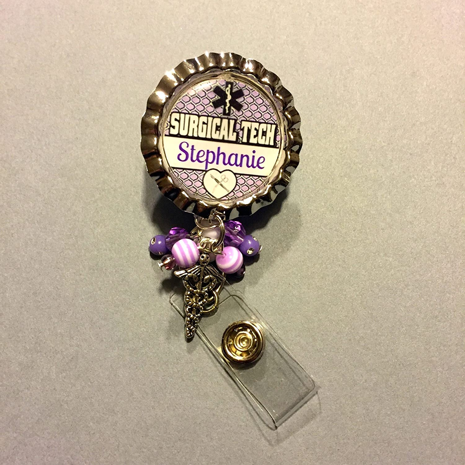 Personalized Surgical Tech spring clip Badge ID holder with retractable reel with coordinating beads and caduceus charm