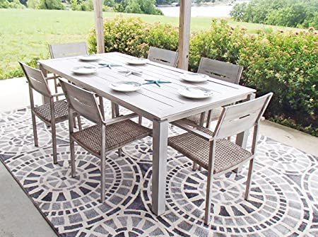 Pebble Lane Living All Weather Rust Proof Indoor Outdoor 7 Piece Cast Aluminum Patio Dining Set, 1 Slat Top Dining Table 6 Rattan Wicker Dining Chairs, Wood Grey