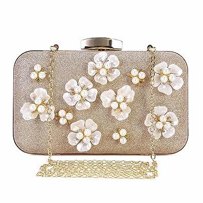 e93923e4b0 Chichitop Women's Floral Beaded Design Evening Clutch Bags Wedding Purse ( Apricot)