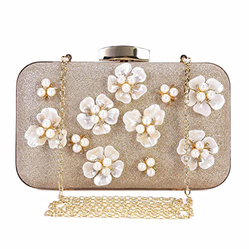 Chichitop Women s Floral Beaded Design Evening Clutch Bags Wedding Purse  (Apricot) 60ee7b846af9