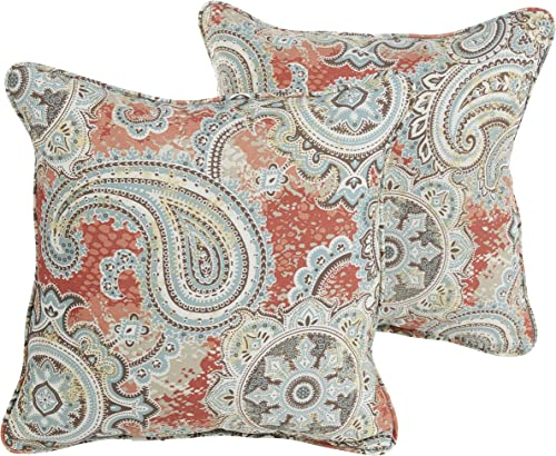 Mozaic Company Indoor Outdoor 16-inch Corded Pillow, Coral Paisley, Set of 2