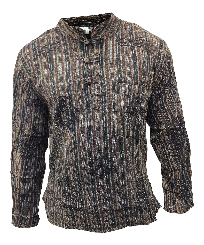Shopoholic Fashion unisex stonewashed gestreift Leicht Hippy Großvater Shirt:  Amazon.de: Bekleidung