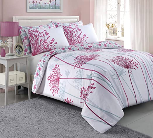 meadow pink duvet quilt cover pillowcases super king by pieridae