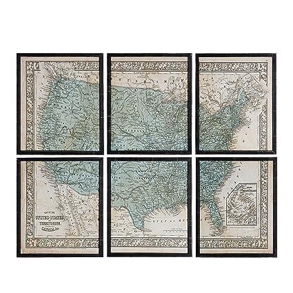 Amazon Com Nikky Home Vintage Wood Framed Usa Map Wall Art Poster