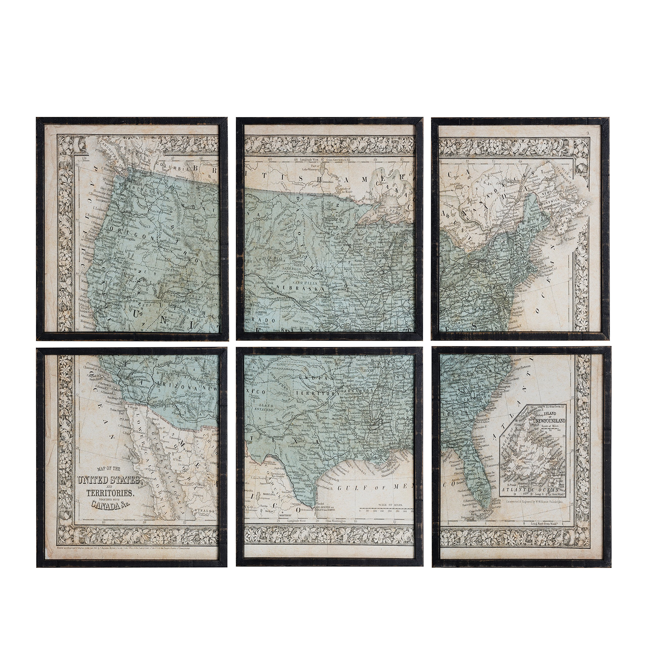 NIKKY HOME Vintage Wood Framed USA Map Decorative Wall Art Prints Set of 6