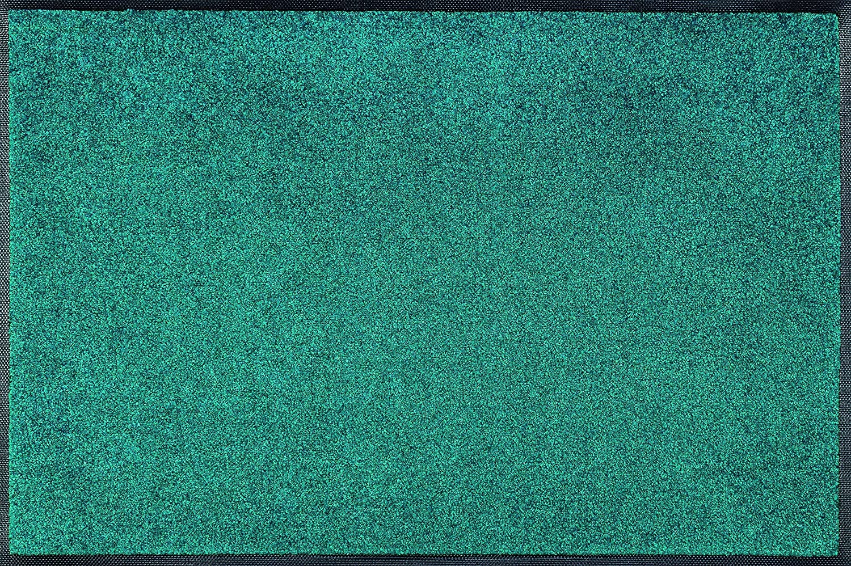 Wash+dry Peacock Grün Fußmatte, Acryl, bunt, 75x120x0.7 cm