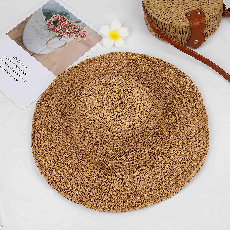 Iman Women/'s Tan Floppy Straw Hat Sun Shade Beach Pool Vacation Wide Brim