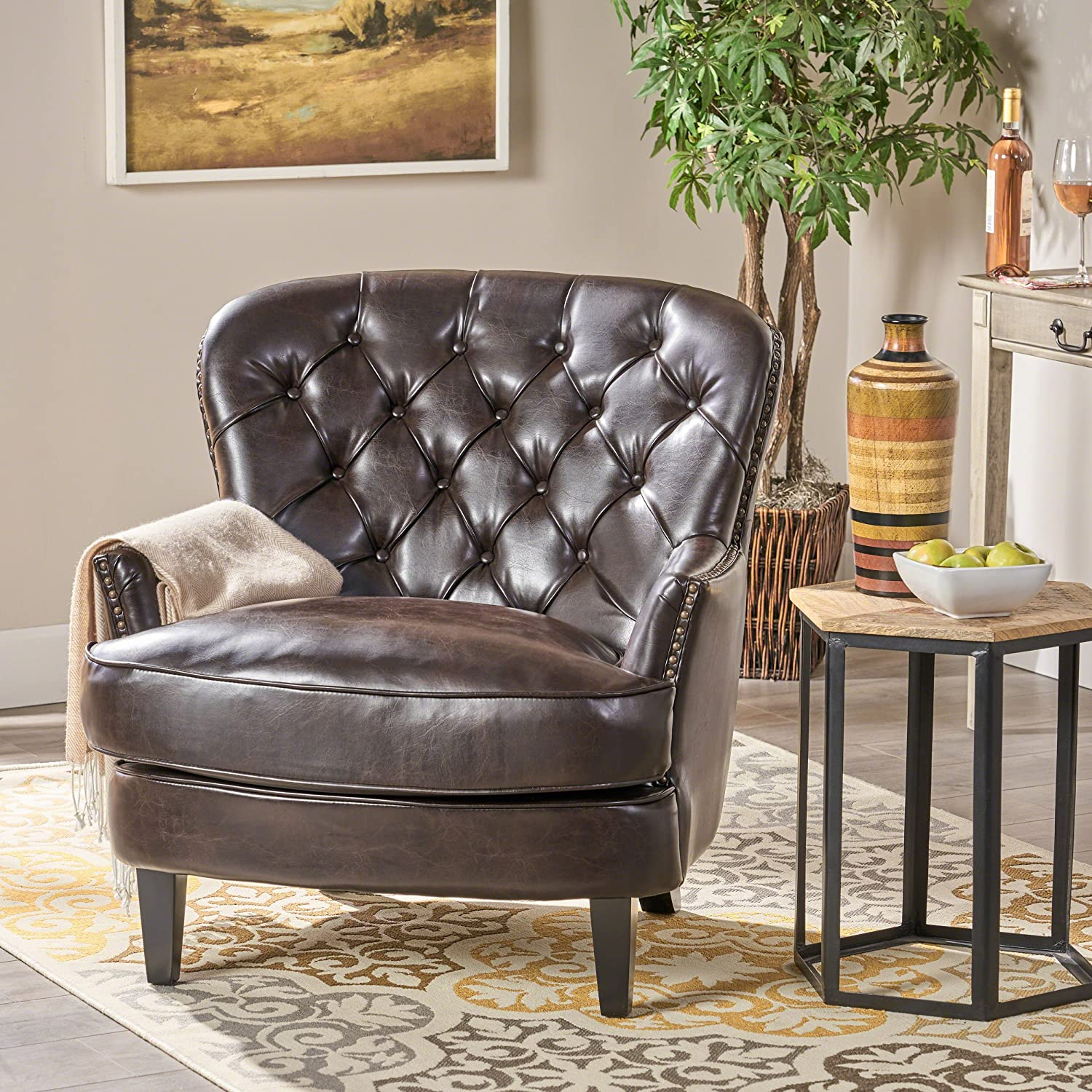 Amazon com great deal furniture alfred tufted brown bonded leather club chair contemporary lounge accent chair kitchen dining