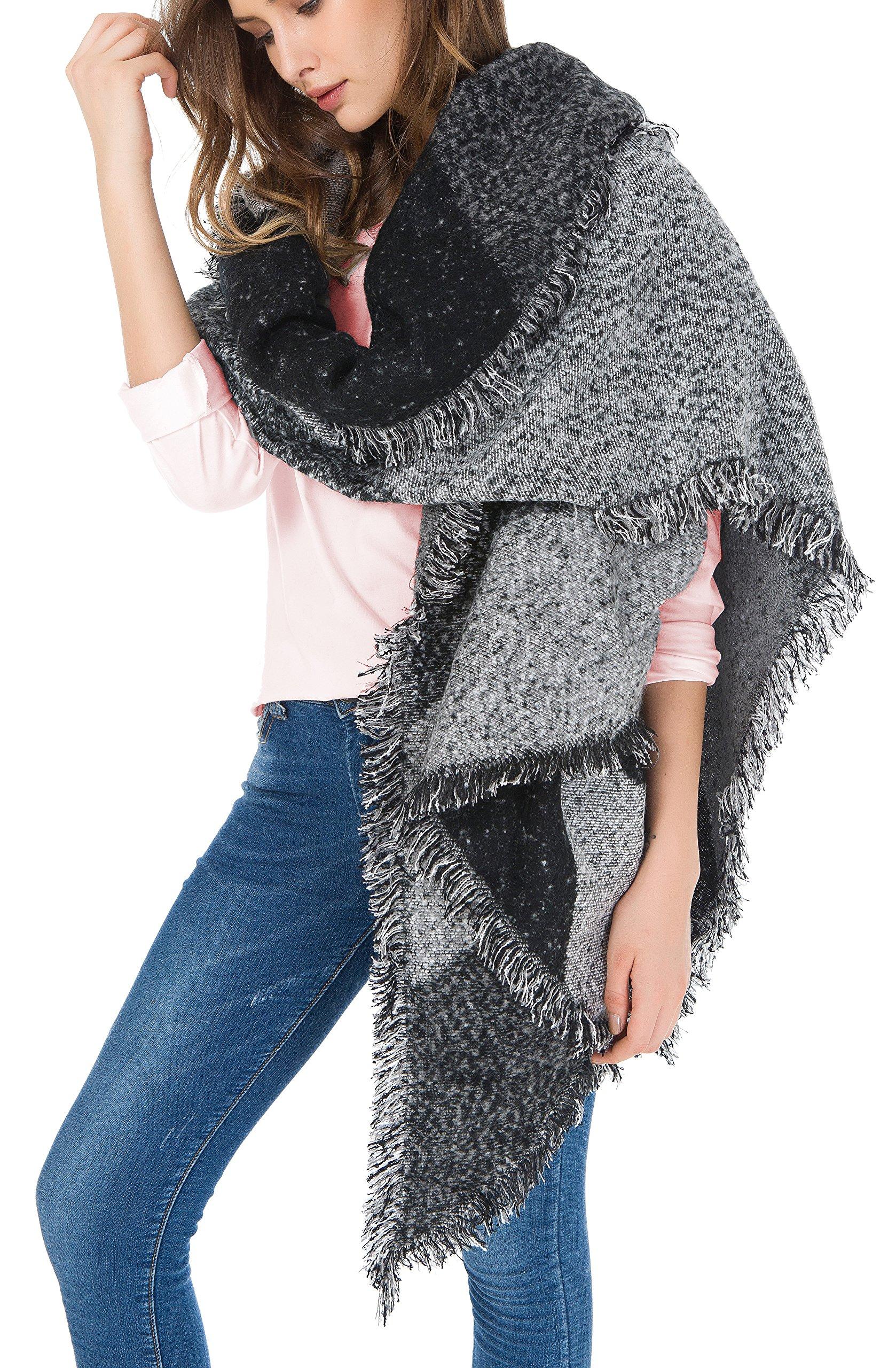 Jusfitsu Women's Fashion Warm Wool Cashmere Bevel Tassels Scarf Wrap Shawl Grey