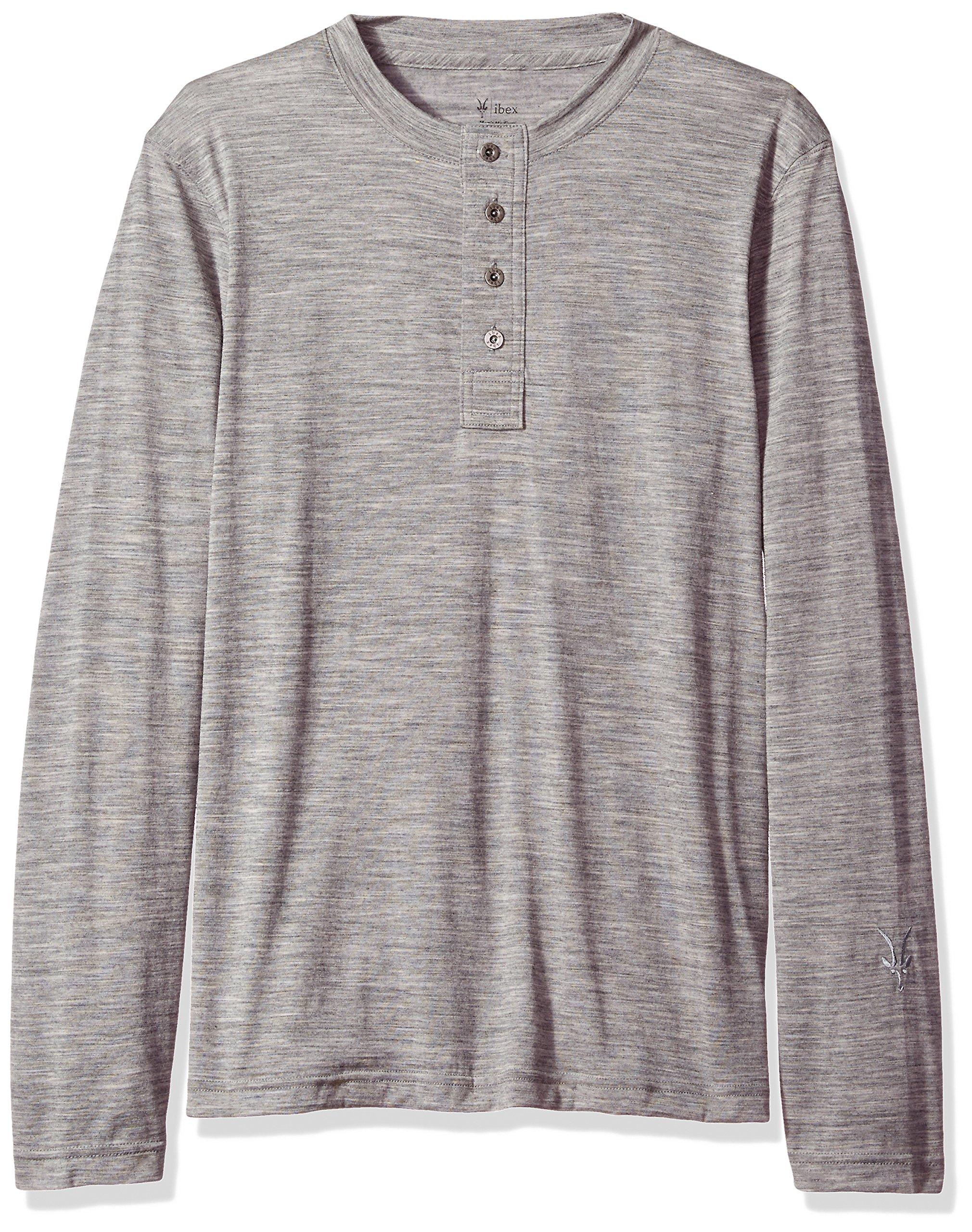 Ibex outdoor Clothing Merino Wool Odyssey Henley, Stone Grey Heather, XX-Large
