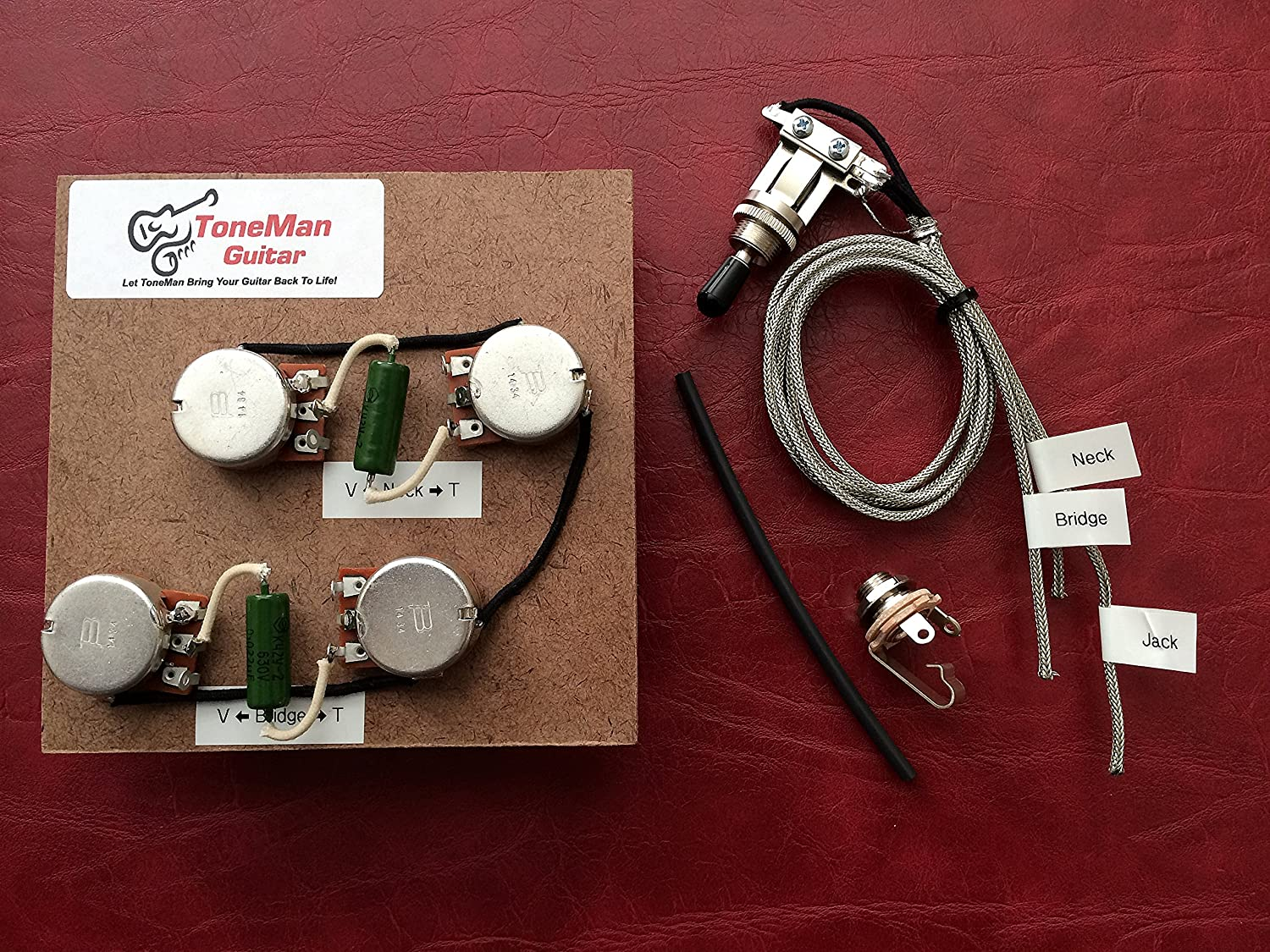 Amazon.com: The Blues Les Paul USA Gibson Prewired 50s Wiring Harness Long  Shaft Pots PIO Vintage Tone Caps, 3 Way Switch Harness: Everything Else