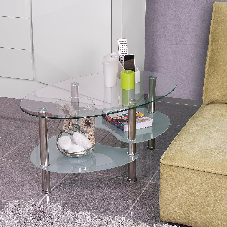 Sencilla y versatil mesa de centro obvalada con revistero y acabados cromados.
