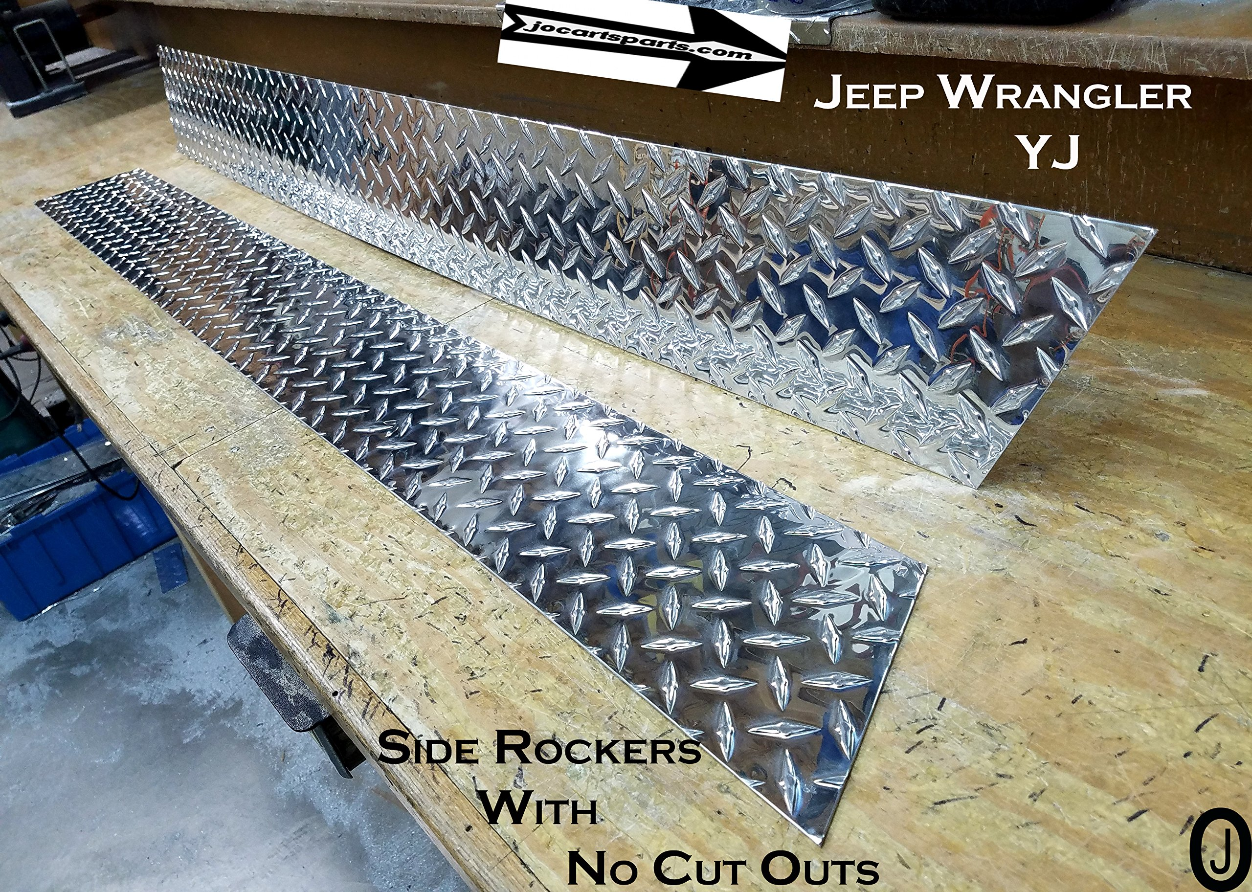 Jeep YJ Diamond Plate Side Rocker Panel with No Cut Outs Set of 2. 6'' Wide