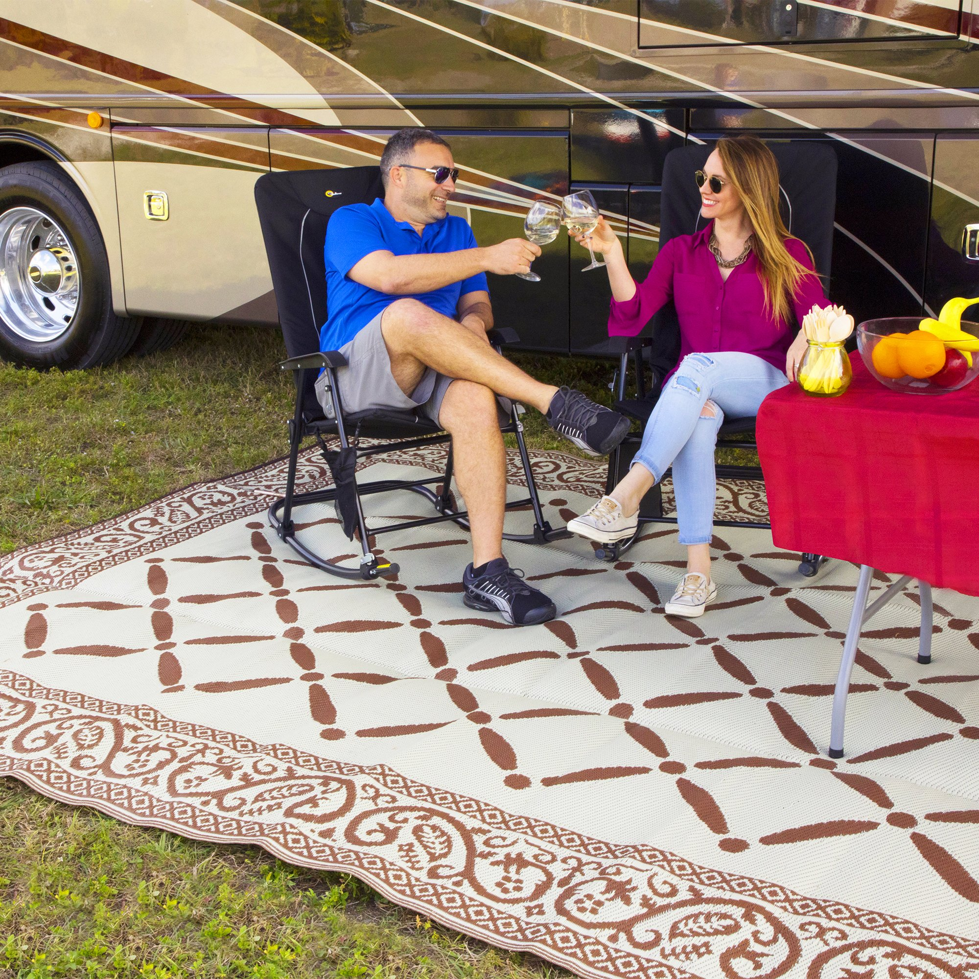 RV Trailer PRESTO FIT Patio Rug 6 Foot X 9 Foot Brown Camping Mat