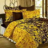 Bedspun Flora 120 TC Cotton Double Bedsheet with 2 Pillow Covers - Floral, Yellow
