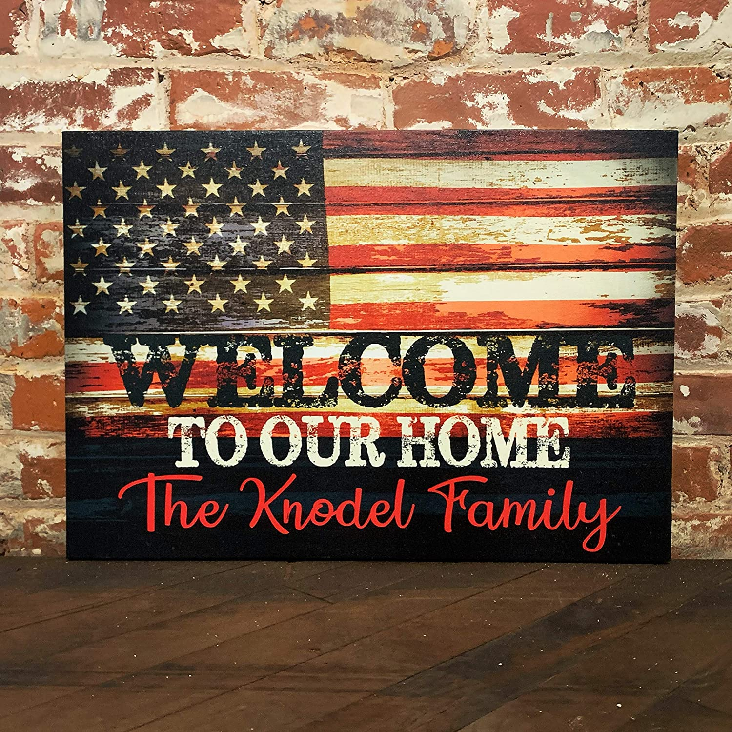 Amazon.com: Rustic American Flag, Wall Decor, Custom Welcome Sign
