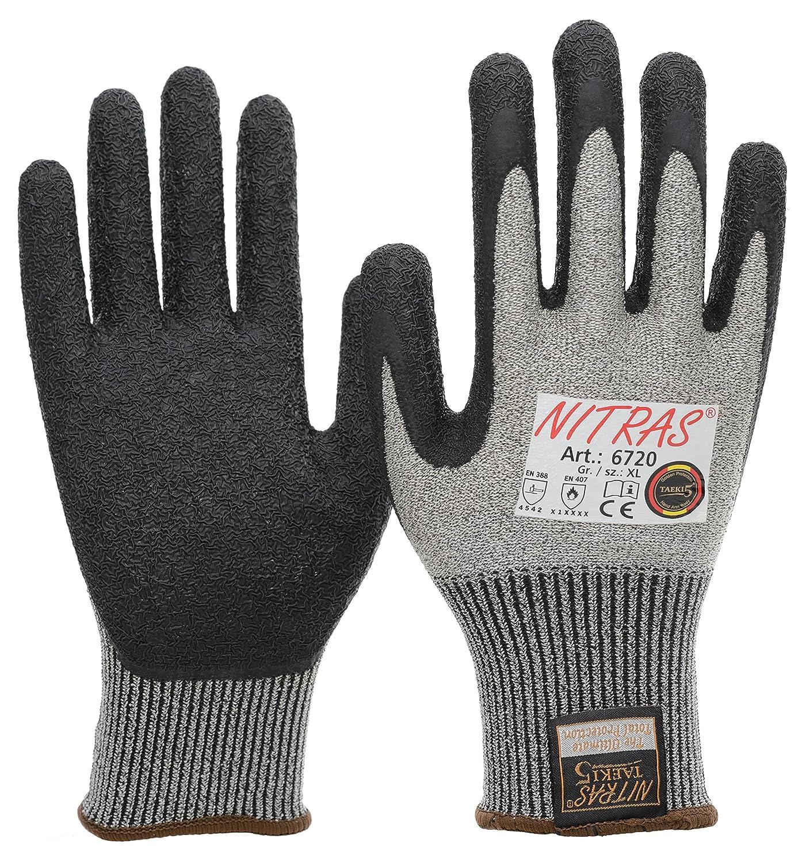 20 Paar NITRAS 6720 Schnittschutzhandschuhe Taeki5, Stufe 5, Latex Beschichtung, schwarz/grau, Gr. S