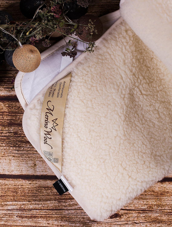 Merino Surmatelas r/éversible 100 /% laine dagneau 550 g//m/² King size