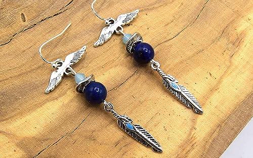 Feather Crochet Dangle Boucles d/'Oreilles Argent Sterling 925