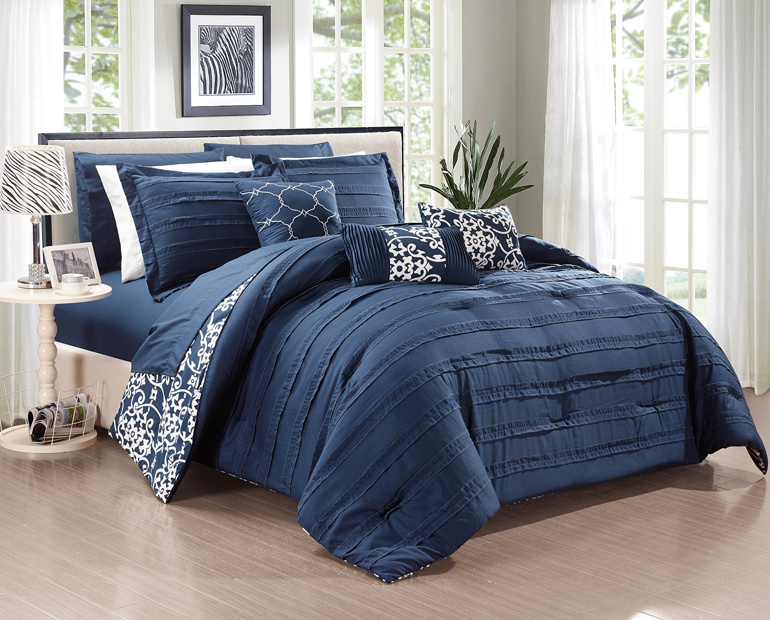 Chic Home 10 Piece Lea Complete Pleated ruffles and Reversible Printed Bed In a Bag Comforter Set of Sheets, King, Navy by Chic Home