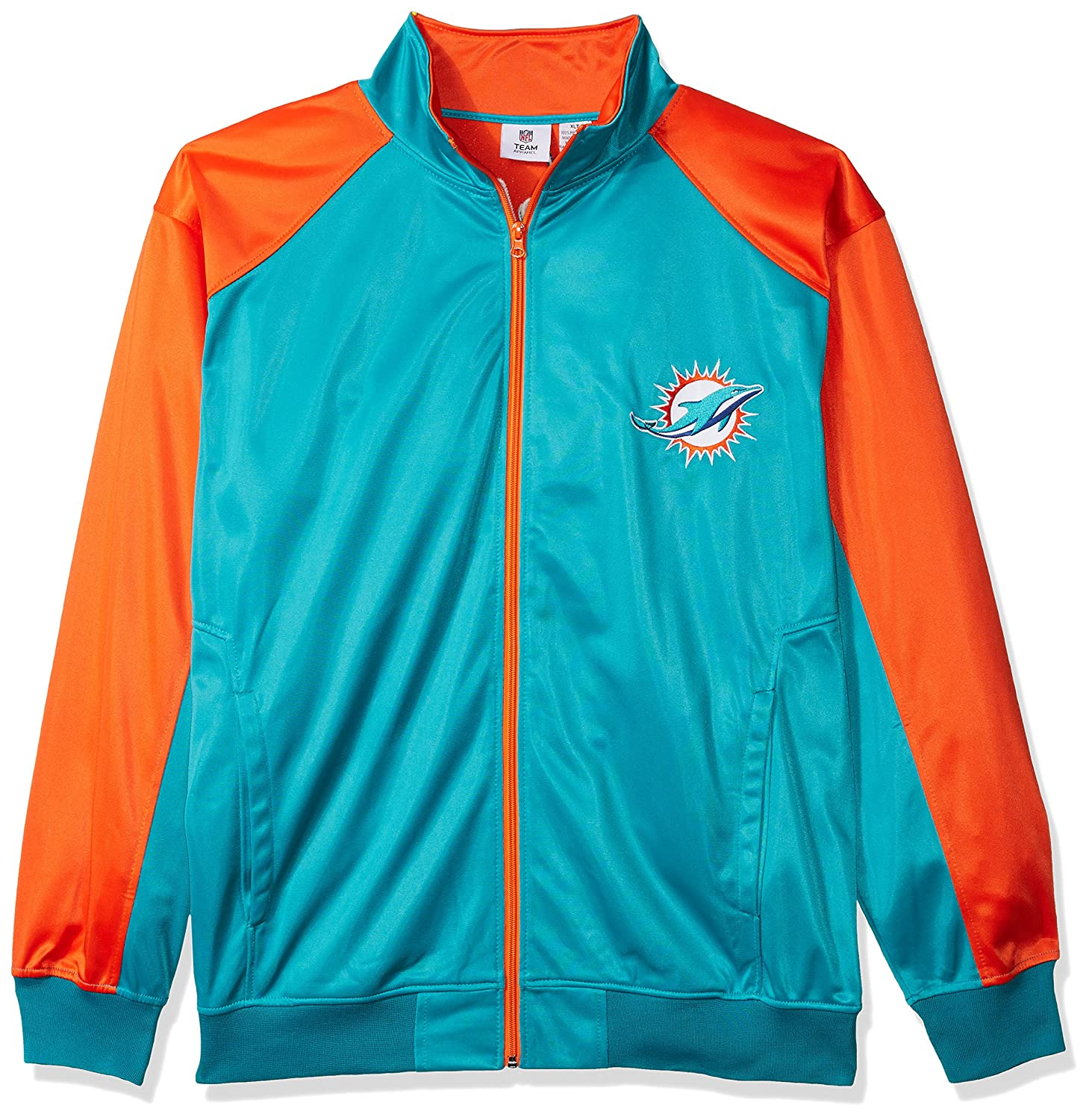 NFL Mens Dolphins Full Zip Tricot Track Jack