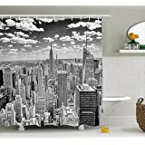 Ambesonne New York Shower Curtain, NYC over Manhattan from Top of Skyscrapers Urban Global Culture Artful City Panorama, Fabric Bathroom Decor Set with Hooks, 70 Inches, Grey