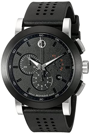 amazon com movado men s 0606545 museum perforated black rubber movado men s 0606545 quot museum quot perforated black rubber strap sport watch
