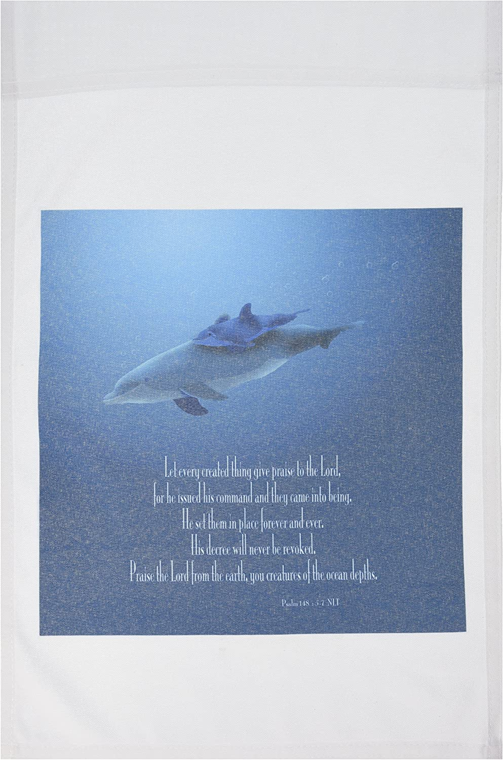 3dRose fl_36108_1 Mother and Baby Dolphin Swimming in The Aqua Colored Ocean with The Bible Verse Psalm 148 Verses 5-7 Garden Flag, 12 by 18-Inch