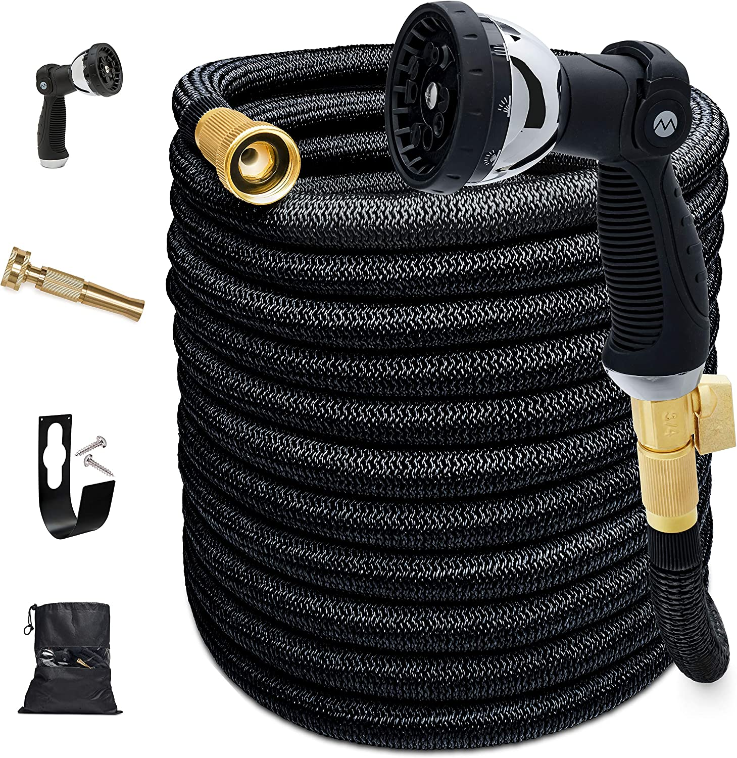 Morvat Expandable Garden Hose 150 FT - Most Superior Strength 5500D & 3 Layer Latex Flexible hose, Auto ON/OFF Brass Connection, 10 Setting Spray Nozzle, Hose Holder & Carry Bag