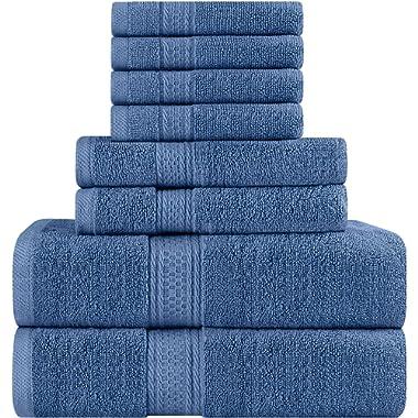 Utopia Towels Premium 8 Piece Towel Set (Wedgewood); 2 Bath Towels, 2 Hand Towels and 4 Washcloths – Cotton Towels