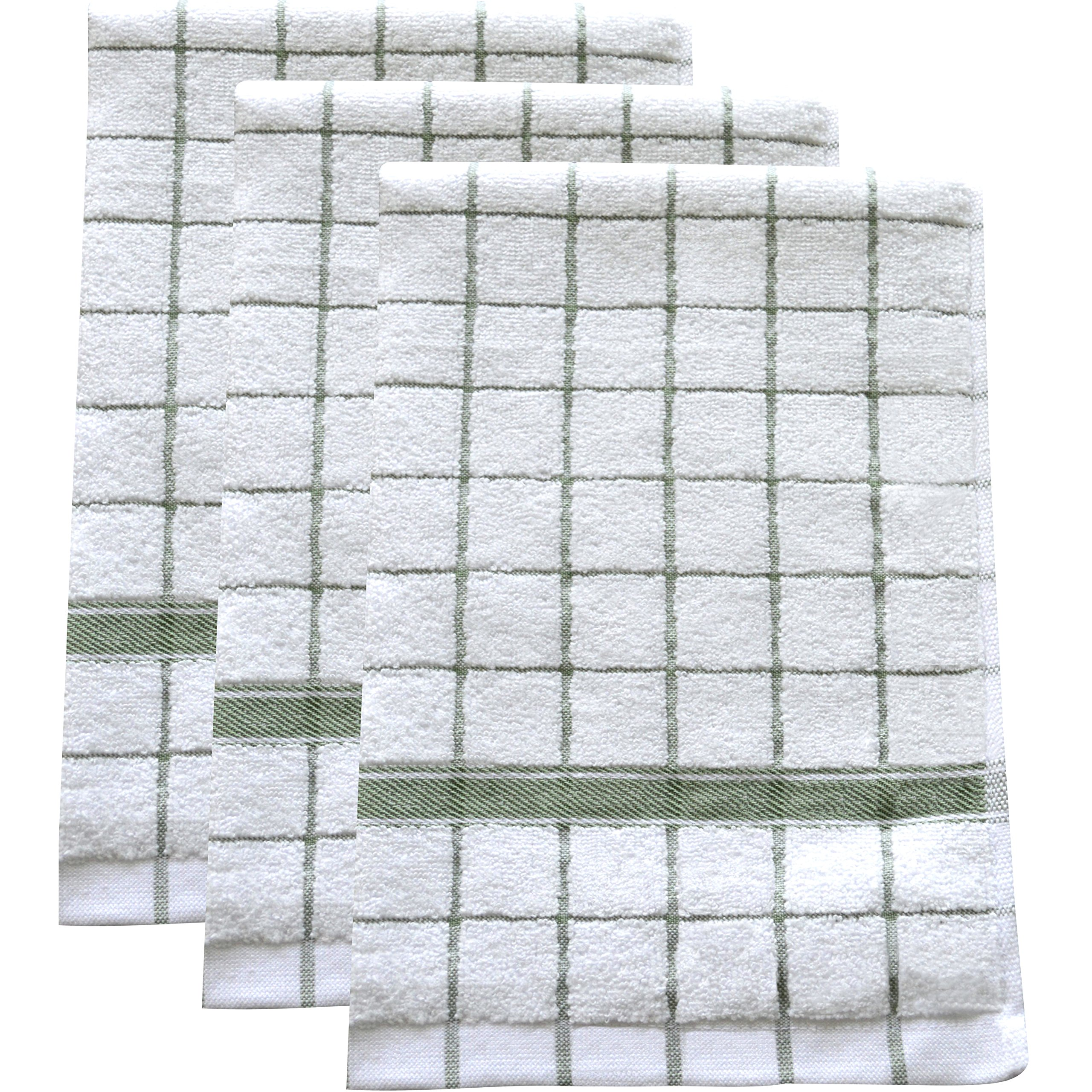 Ultra Absorbent, Quick-Drying Kitchen Dish Towels (Set of 3) | Premium Microfiber & Cotton Blend Hand Towels for Cleaning, Scrubbing, Washing, and Drying | Durable Reinforced Edges | 23'' X 16'' Green by Fabresh
