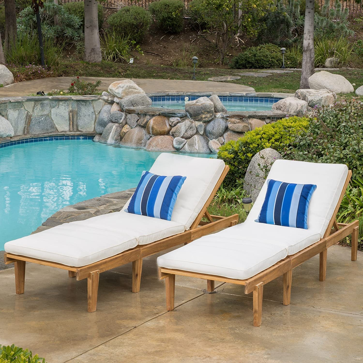 amazon com set of 2 paolo outdoor teak brown wood chaise