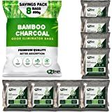 VZee Nature Fresh Charcoal Bags Odor Absorber, 8 Pack x 200g, 8 Cords, Odor Eliminator for Strong Odor, Activated Bamboo Char
