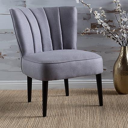 Amazon Com Leafdale Plush Fabric Accent Chair Light Grey Kitchen