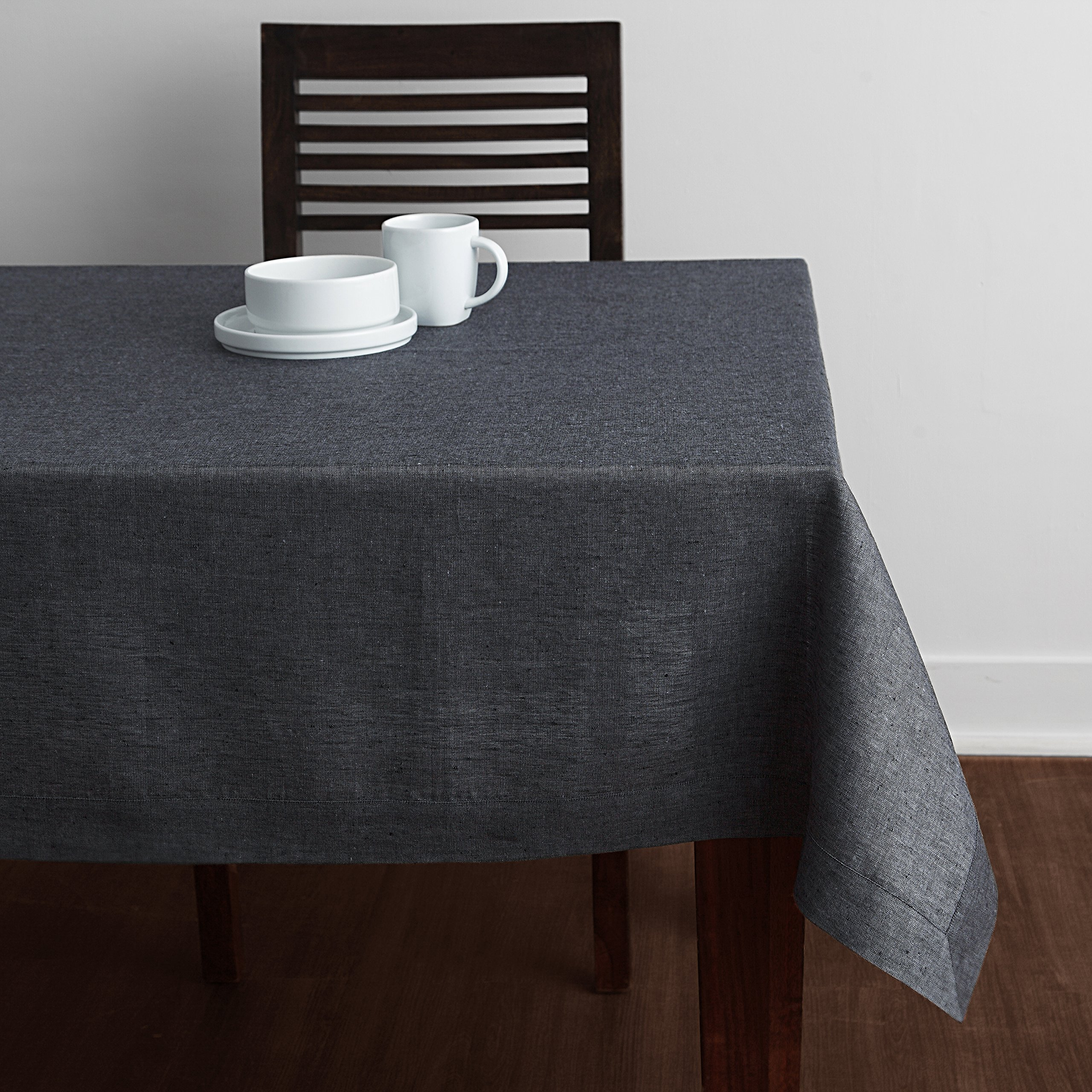 Solino Home 100% Linen Tablecloth - 60 x 90 Inch Grey, Natural Fabric, European Flax - Athena Rectangular Tablecloth for Indoor and Outdoor use