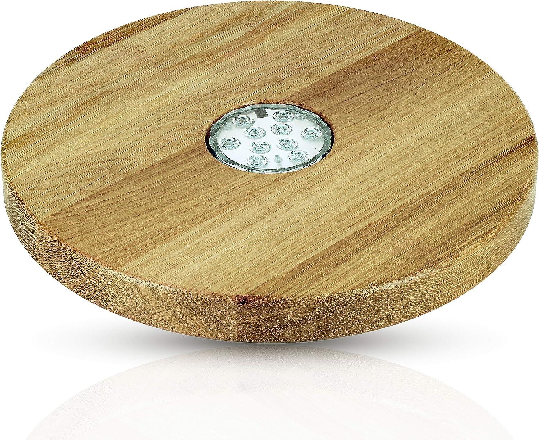 Blowglow Shisha - Salvamanteles LED para cachimba (Madera de Roble, 30 cm de diámetro, Hecho a Mano)
